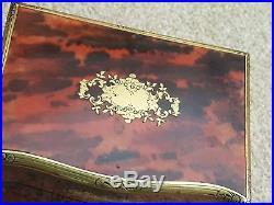 Stunning Antique Red Shell brass boulle serpentined jewellery box casket caddy
