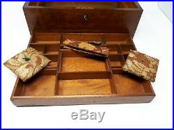 Stunning Carved Wooden Chinese 19th Century Sewing Jewellery Box