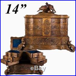 Superb 14 Wide HC Black Forest Jewelry Box, Casket, 4 Layers, Drawers, Birds