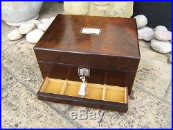 Superb 19c Rosewood Antique Jewellery/vanity Box Fab Interior -dated 1861