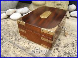 Superb 19c Solid Mahgoany Antique Document/jewellery Box Fab Interior