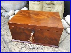 Superb Early 19c Flame Mahogany Antique Inlaid Jewellery Box Fab Interior