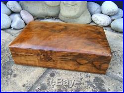 Superb Early Figured Solid Walnut Antique Jewellery Box Fab Interior
