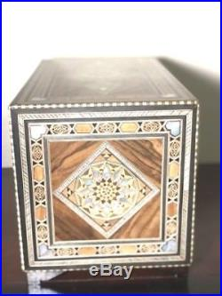 Syrian Handmade Mother of Pearl Wooden Jewelry box mosaic marquetry drawers