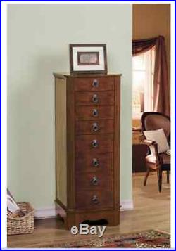 Tall Jewelry Armoire Chest Locking Box Wood Storage Cabinet Stand Mirror Brown