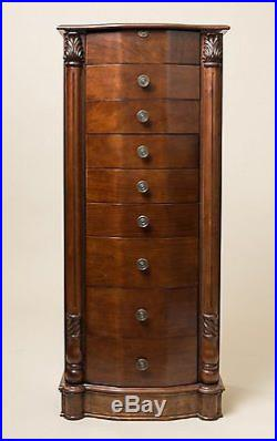 Tall Jewelry Armoire Chest with Mirror Brown Wood Storage Cabinet Stand Box