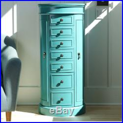 Tall Jewelry Armoire Turquoise Blue Mirror Oval Chest Box Storage Organizer Gift