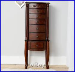 tall jewelry armoire walnut cabinet mirror necklace stand