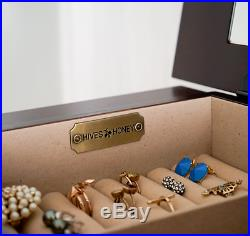 Tall Jewelry Armoire Walnut Cabinet Mirror Necklace Stand Box Storage Chest Wood