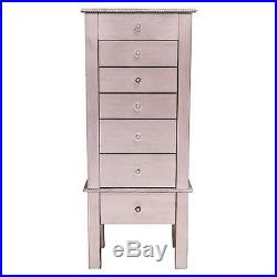 Tall Jewelry Armoire Wood Wooden Chest Storage Organizer Cabinet Stand Mirror