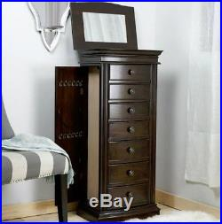 Tall Stand Up Jewelry Box With Mirror Wooden Drawers Armoire Organizer Brown