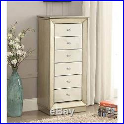 Talor Jewelry Armoire Storage Mirrored Drawers Cabinet Flip Mirror Antique Gold