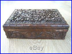 Terrific 19c Anglo Indian Hand Carved Antique Jewellery Box Fab Interior