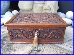 Terrific 19c Hand Carved Dated 1906 Antique Jewellery Box Fab Interior