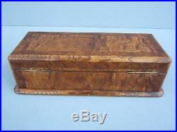 Terrific French 19c Ash & Amboyna Inlaid Antique Jewellery Box Fab Interior