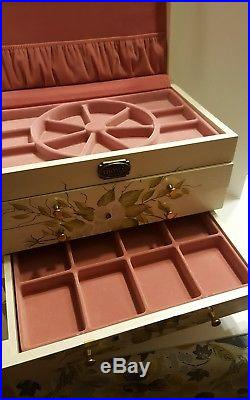 Thomas Museum Series Hand Painted White Jewelry Box Wood Floral 4 Drawer