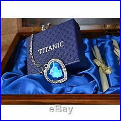 Titanic Necklace Heart Of The Ocean Blue Crystal Pendant Pure Silver Wooden Box