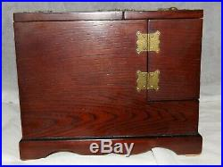 UNUSUAL Large Wooden 8 Drawer With Brass hinge, Jewelry Box/Make up Organizer
