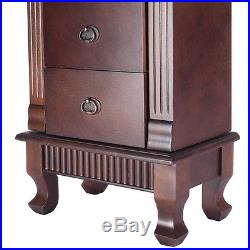 US Jewelry Cabinet Armoire Box Storage Chest Stand Organizer Necklace Wood New