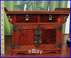 Unique Chinese Burl Wood Jewelry Box with Red Velvet Lined Drawers & Vintage Lock