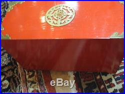 Unique Vintage Chinese Red Wood Jewelry Box with 6 Drawers