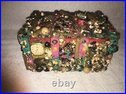 Unique Vintage Wooden Box Chest Embellished Exterior Jewelry Buttons Tramp Art