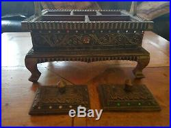 Unique and Beautiful Vintage Asian Carved Wooden Jewellery Box
