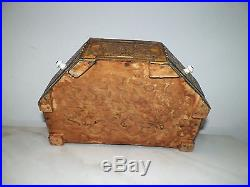 Vintage Mosaic Wooden Jewelry Box With Hidden Compartment Porcelain Knobs