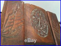 VINTAGE OLD WOOD WOODEN Jewelry Treasure BOX CARVED SCOONER SAIL Sea BOAT BOATS