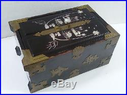Vintage Oriental Wooden / Brass / Mother Of Pearl / 5 Drawer Jewellery Box