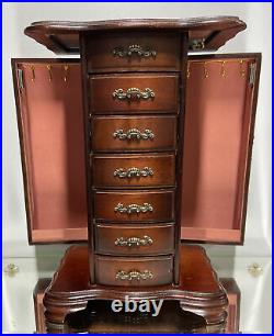 VTG. Wooden Jewellery Box Compartments Drawers Wood Cabinet Vintage Mirror