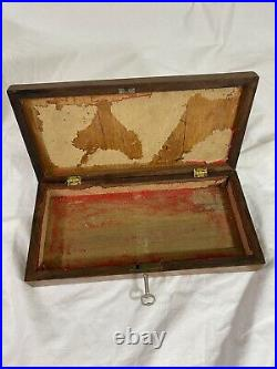Victorian Wooden Hand Carved Keepsake Jewelry Box With Key