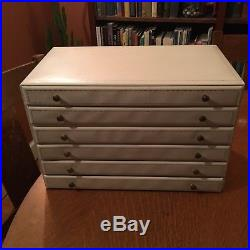 Vintage 1960's Large Mele Cream Jewelry Box with Drawer and 5 Inner Tiers