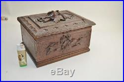 Vintage ANTIQUE BLACK FOREST JEWELRY BOX from 1880 handcarved