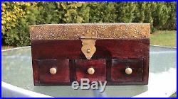 Vintage Antique Brass and Wooden 3 Draw & Mirror Jewellery Box