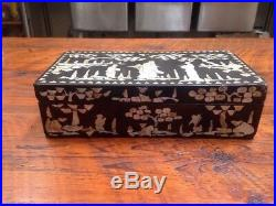 Vintage Antique Chinese Mother of Pearl Inlay Black Lacquer Wooden Jewelry Box