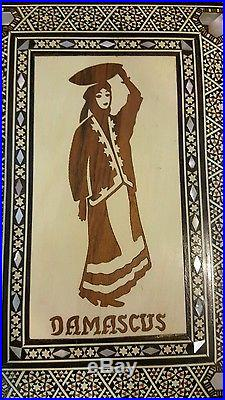 Vintage Antique Syrian Mosaic Inlaid Mother of Pearl & Bone Wooden Box