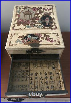 Vintage Asian Chinese 4 Drawer Travel Jewelry Chest Stand-up Mirror Wooden Box