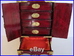 Vintage Asian Chinese Jade Brass Wood Jewelry Box Chest Trunk 12.5 tall Lock
