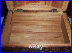 Vintage Carved Wood Sail Boat Huge Wooden Jewelry Box Beautiful Detailing