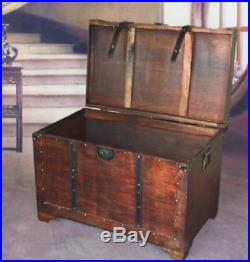 Vintage Chest Large Wooden Treasure Storage Clothes Toys Keepsake Antique Gift