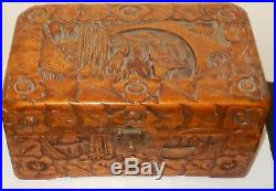 Vintage Chinese Hand Carved Wooden Jewelry Chest Box