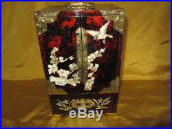Vintage Chinese Lacquered Wooden Mother Of Pearl Inlay Jewelry Box