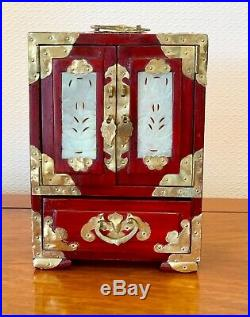 Vintage Chinese Wooden Jewellery Box Jade Inlaid Asian Trinket Box 8.5 Ins Tall