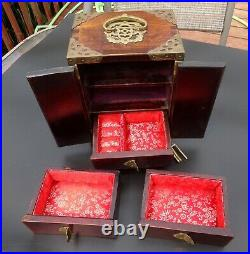 Vintage Chinese Wooden Jewelry Box with Carved Jade & Hand Chased Brass Accents