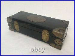 Vintage Chinese Wooden Jewelry Trinket Box with Brass Mounts, 10 x 4 x 2 3/4