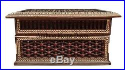 Vintage Egyptian Handcrafted Mother of Pearl Mashrabiya Wood Chest Jewelry Box