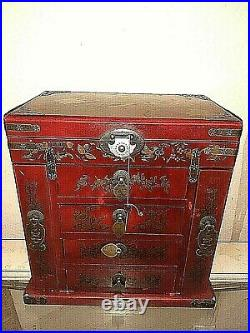 Vintage Fine Oriental Peacock Red Jewelry Box, Large Wooden Box