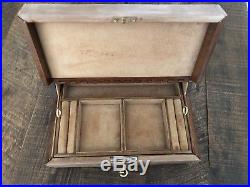 Vintage Gucci Mid Century Leather & Wood Jewelry Box