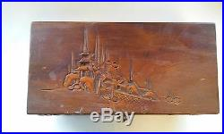 Vintage Hand Carved Wooden Japanese Pagoda Jewelry Box